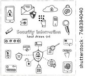 hand drawn doodle security... | Shutterstock .eps vector #768384040