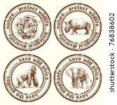 wild africa stamps | Shutterstock .eps vector #76838602