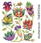 beautiful vector floral pattern ... | Shutterstock .eps vector #768393166