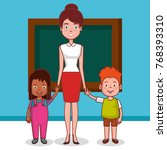 little kids group in classroom...   Shutterstock .eps vector #768393310
