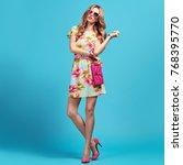 Fashion Young Woman Floral Dress - Fine Art prints