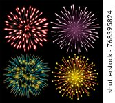 set of colorful fireworks. set... | Shutterstock .eps vector #768395824