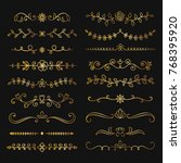 collection of golden hand drawn ... | Shutterstock .eps vector #768395920