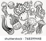Set Jellyfish Isolated Symbol....