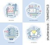 blue flat conceptual icons set...