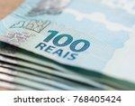 money from brazil. notes of... | Shutterstock . vector #768405424