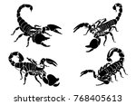 graphical scorpions isolated on ... | Shutterstock .eps vector #768405613
