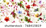 wide seamless floral background ... | Shutterstock .eps vector #768415819