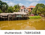 siem reap river and dwellings... | Shutterstock . vector #768416068