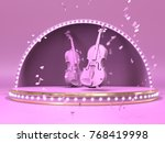 pink violin on estrada stage... | Shutterstock . vector #768419998