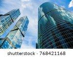 skyscraper glass facades on a...   Shutterstock . vector #768421168
