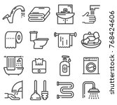 line set of icons   bathroom.... | Shutterstock .eps vector #768424606