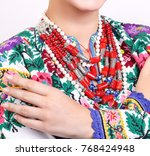 girl in a bright embroidered... | Shutterstock . vector #768424948