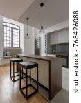 modern kitchen with big window  ... | Shutterstock . vector #768426088