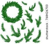 fir brashes set and christmas...   Shutterstock .eps vector #768426703