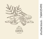 background with date fruit ... | Shutterstock .eps vector #768435490