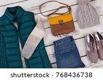 women's autumn outfit idea. set ...   Shutterstock . vector #768436738