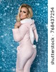 beautiful sexy blonde woman... | Shutterstock . vector #768437254