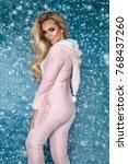 beautiful sexy blonde woman... | Shutterstock . vector #768437260