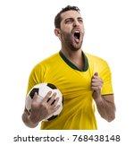 brazilian fan celebrating on... | Shutterstock . vector #768438148