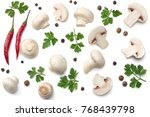 mushrooms with parsley isolated ... | Shutterstock . vector #768439798
