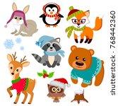 winter animals in sweater  hat  ... | Shutterstock .eps vector #768442360