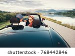 in love couple traveling by... | Shutterstock . vector #768442846