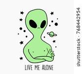 space alien vector illustration    Shutterstock .eps vector #768442954