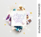 happy new year greeting card... | Shutterstock .eps vector #768444430