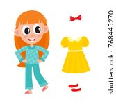vector flat cute girl kid child ... | Shutterstock .eps vector #768445270
