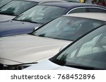 roofs of several cars. a lot of ... | Shutterstock . vector #768452896