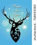 christmas deer silhouette | Shutterstock .eps vector #768453583