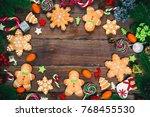 christmas gingerbread cookies...   Shutterstock . vector #768455530