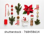 christmas composition made of... | Shutterstock . vector #768458614