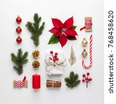 christmas composition made of... | Shutterstock . vector #768458620
