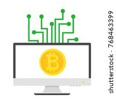 bitcoin gold coin with... | Shutterstock .eps vector #768463399