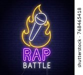 rap battle. 3d neon sign.... | Shutterstock .eps vector #768465418