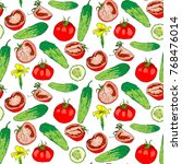 cucumber and tomato seamless... | Shutterstock .eps vector #768476014