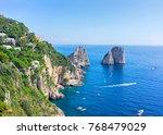 ships near faraglioni cliffs... | Shutterstock . vector #768479029