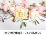 festive flower english rose... | Shutterstock . vector #768483508