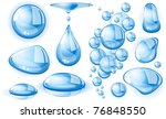 clear blue vector water drops... | Shutterstock .eps vector #76848550