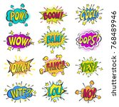 pop art comic bubbles vector... | Shutterstock .eps vector #768489946