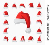 santa claus fashion red hat... | Shutterstock .eps vector #768489949