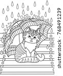 Stock vector outlined doodle anti stress coloring cute cat under the umbrella coloring book page for adults and 768491239