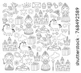 set of doodle princess and... | Shutterstock .eps vector #768492589