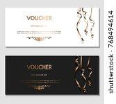 horizontal gift golden festive...   Shutterstock .eps vector #768494614