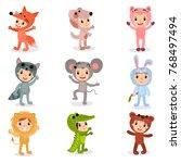 set of cartoon little kids... | Shutterstock .eps vector #768497494