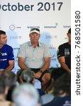 Small photo of Alicante, Spain: October 20 2017; Volvo Ocean race 2017-18. Skippers press meeting. Mr David Witt, Scalawag Team skipper