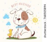 cute puppy and duckling cartoon ... | Shutterstock .eps vector #768505894