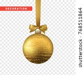 xmas balls gold color.... | Shutterstock .eps vector #768511864